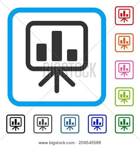 Bar Chart Display Board icon. Flat grey pictogram symbol in a light blue rounded rectangular frame. Black, gray, green, blue, red, orange color versions of Bar Chart Display Board vector.