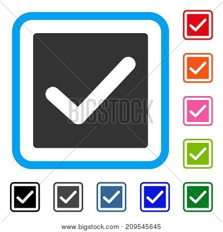 Check icon. Flat gray pictogram symbol inside a light blue rounded square. Black, gray, green, blue, red, orange color additional versions of Check vector. Designed for web and application interfaces.