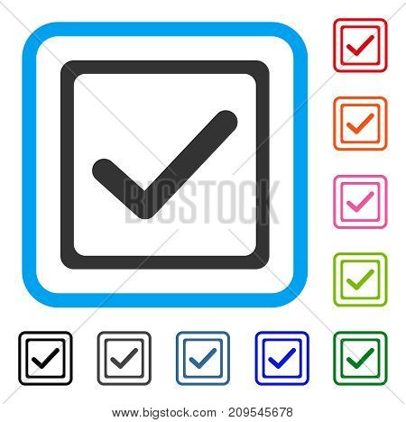 Checkbox icon. Flat grey iconic symbol in a light blue rounded squared frame. Black, gray, green, blue, red, orange color versions of Checkbox vector. Designed for web and software user interface.
