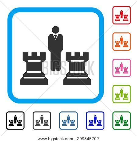 Chess Strategy icon. Flat grey pictogram symbol in a light blue rounded squared frame. Black, gray, green, blue, red, orange color variants of Chess Strategy vector.