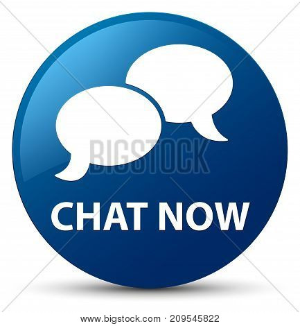 Chat Now Blue Round Button