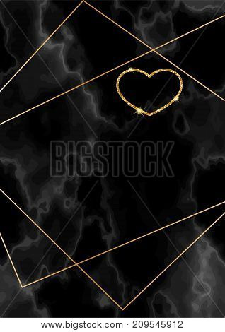 Geometric valentine day card, marble texture, background in trendy minimalistic style, heart silhouette, granite, gold yellow glitter, frame, vector fashion wallpaper, invitation