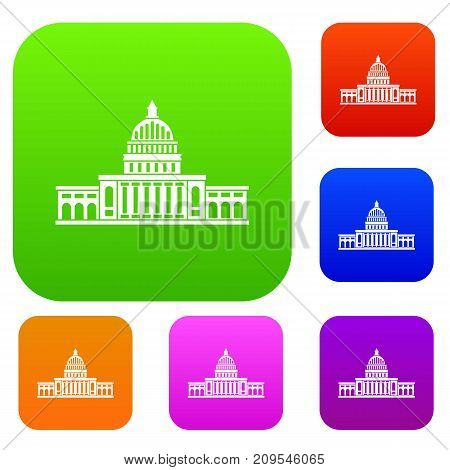 White house set icon color in flat style isolated on white. Collection sings vector illustration