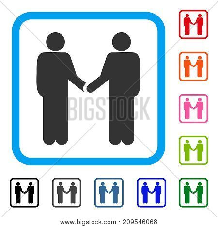 Friends Handshake icon. Flat grey pictogram symbol inside a light blue rounded squared frame. Black, gray, green, blue, red, orange color additional versions of Friends Handshake vector.
