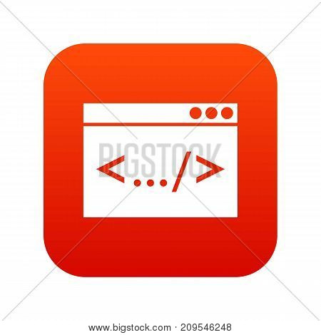 Code window icon digital red for any design isolated on white vector illustration