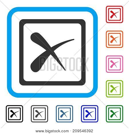 Reject icon. Flat gray iconic symbol inside a light blue rounded frame. Black, gray, green, blue, red, orange color additional versions of Reject vector. Designed for web and software user interface.