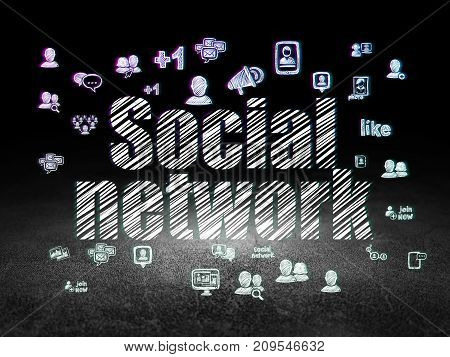 Social network concept: Glowing text Social Network,  Hand Drawn Social Network Icons in grunge dark room with Dirty Floor, black background