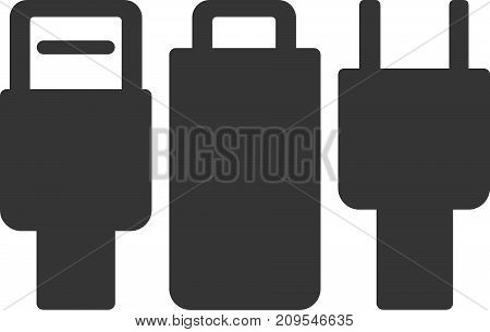 Cable Plugs Set - Tech and Power Connectors. USB, Lightning and AC. Label or Sign Element for Device Charging Station, Data Transfer and Electric Energy Supply. Icon for Electrical Connection Technology Equipment, Voltage Adapter and Charge Port Hardware