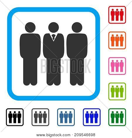 Team Manager icon. Flat gray iconic symbol in a light blue rounded square. Black, gray, green, blue, red, orange color additional versions of Team Manager vector. Designed for web and app interfaces.