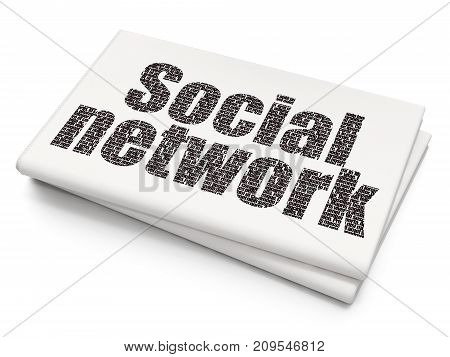 Social media concept: Pixelated black text Social Network on Blank Newspaper background, 3D rendering