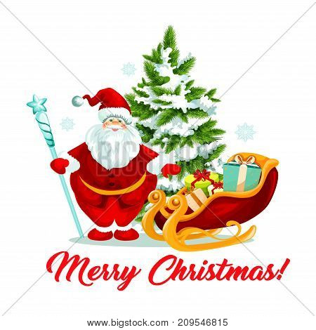 Merry Christmas greeting card design template of Santa with gift bag and Christmas tree on sleigh. Vector Xmas decoration icon for New Year party celebration or winter holiday seasonal wish