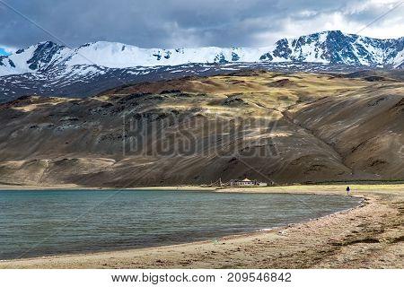 Landscape around Tso Moriri Lake in Ladakh, India