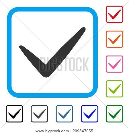 Valid icon. Flat gray iconic symbol in a light blue rounded rectangle. Black, gray, green, blue, red, orange color variants of Valid vector. Designed for web and application user interface.