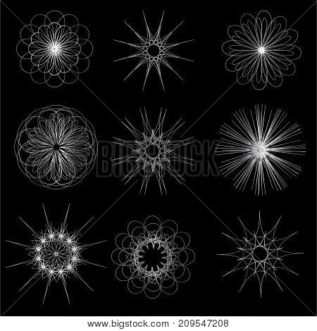 Set of silver geometric vector symbol abstract.