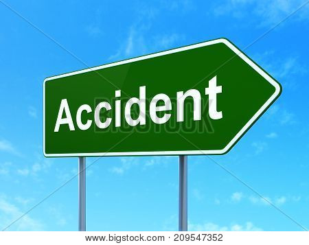 Insurance concept: Accident on green road highway sign, clear blue sky background, 3D rendering