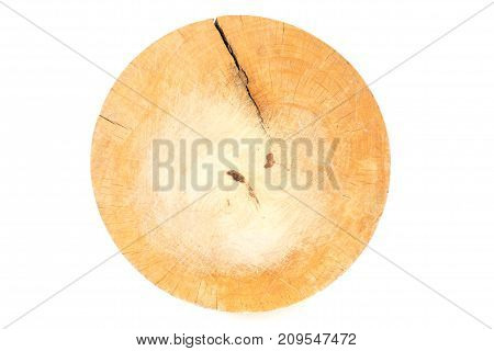 used wooden chopping board made from tree stump isolated on white background - top view
