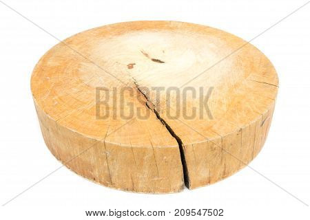 used wooden chopping board made from tree stump isolated on white background