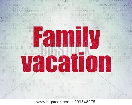 Tourism concept: Painted red word Family Vacation on Digital Data Paper background