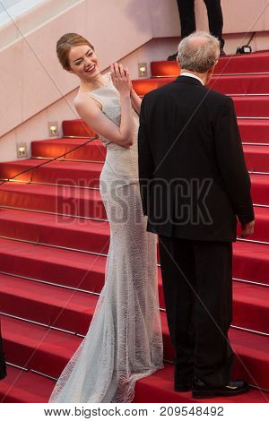 CANNES, FRANCE - MAY 15, 2015: Woody Allen, Emma Stone  attend the 'Irrational Man' premiere. 68th annual Cannes Film Festival at the Palais des Festivals