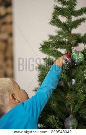 Young blond boy decorating Christmas Tree with baubles.