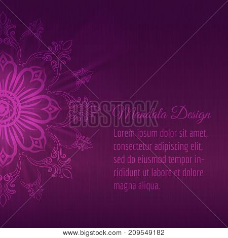 Abstract mandala background in deep purple colors, vector ilustration