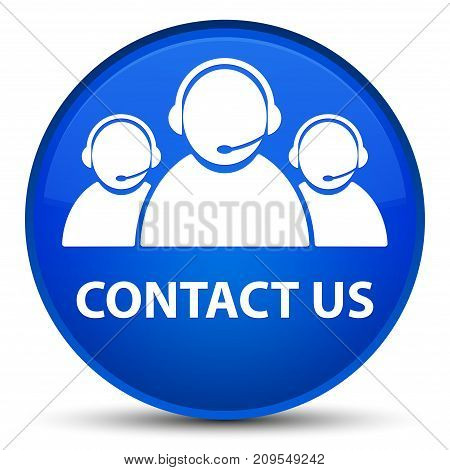 Contact Us (customer Care Team Icon) Special Blue Round Button