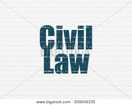 Law concept: Painted blue text Civil Law on White Brick wall background