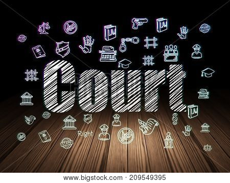 Law concept: Glowing text Court,  Hand Drawn Law Icons in grunge dark room with Wooden Floor, black background