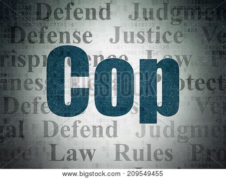 Law concept: Painted blue text Cop on Digital Data Paper background with   Tag Cloud