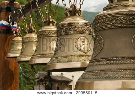 RUSSIA SOCHY - september 27 2017: row of traditional Orthodox bells of different sizes in the bell gable
