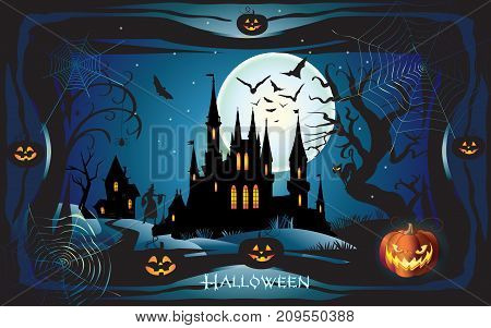 Halloween night background with pumpkin, bat, spider web, fantasy forest, haunted house and full moon. Vector illustration.