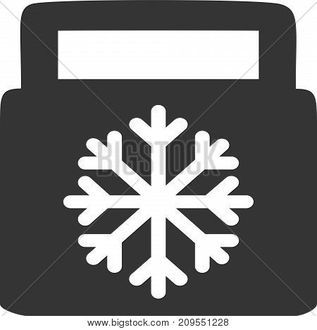 Cooler - Cold Food Carry Case - Catering Bag. Sign or Label Advertisement Element for Frozen or Chilled Drinks or Meal. Symbol for Insulated Freeze Handbag and Temperature Controlled Picnic, Tailgate or Travel Gear. Flat Design with Handle and Snowflake.
