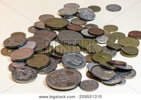 Still life of old coins. Made in study