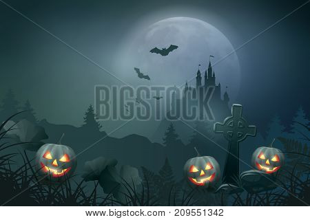 Halloween vector night scene with pumpkin, graves and castle