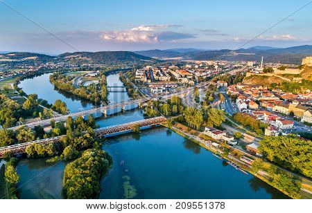 View of the Vah river at Trencin, Slovakia.