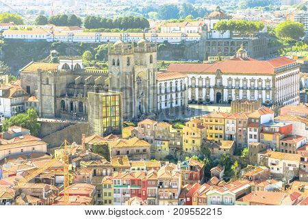 Porto aerial view. Close up of Cathedral of Oporto or Se do Porto and Episcopal Palace or Paco Episcopal from Clerigos Tower, the highest point in the city of Porto in Portugal, Europe.