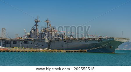 USS Essex Carrier at dock in San Francisco Ca. Bay by the San Francisco Bay Bridge Oct 5, 2017 for Fleet Week