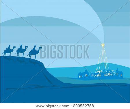 Birth of Jesus in Bethlehem , vector illustration