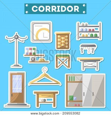 Corridor furniture icon set. Home interior design, modern apartment decoration isolated elements. Interroom door, clothes hanger, bookshelf, cupboard, tabouret, table, key hanger vector illustration.