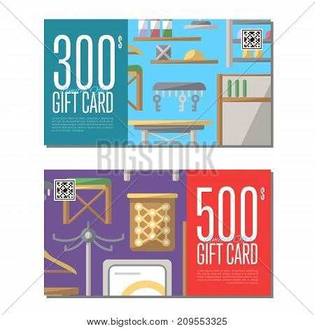 Gift card set for corridor furniture. Hallway interior design certificate, stylish apartment decoration and renovation discount voucher. Interroom door, clothes hanger, bookshelf vector illustration