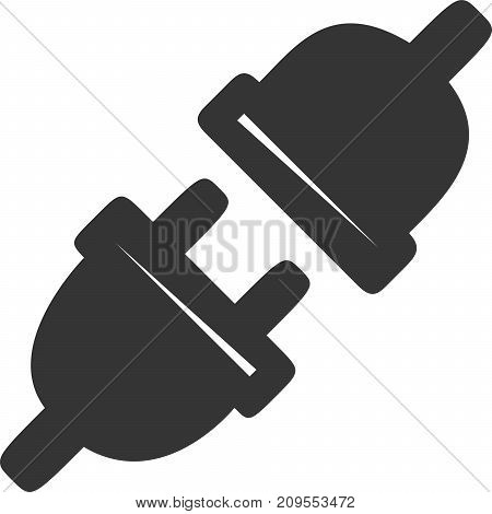 AC Electric Plug In - Power Cord. Icon or Label for Extension Cable, Outlets and Electric Charging. Flat Element for Appliance, Accessory, Product and Electronics Charger Ports Warning Sign. Simple Flat Silhouette Design.