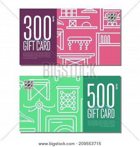 Gift card linear set for corridor furniture. Hallway interior design certificate, stylish apartment decoration and renovation discount voucher. Interroom door, clothes hanger vector illustration