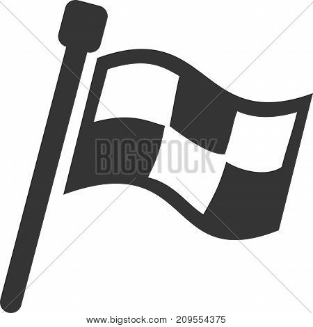 Flag Banner - Checkered Waving Pattern. Sign, Signal Icon Button for Initiate, Start, Begin, Finish, Notice, Location Mark / Marker or Attention Hint Pennant. Pole and Waving Fabric. Use with Racing, Sports, Games, Web Advertisement or Bonus Information.