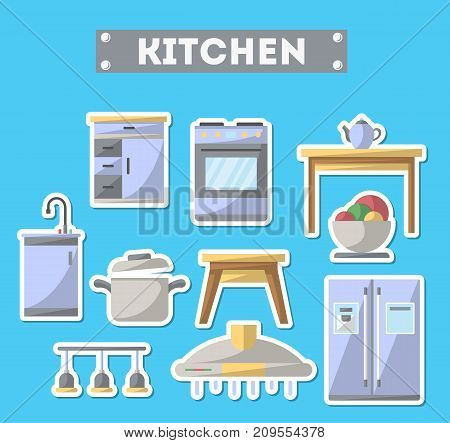 Kitchen furniture icon set. Home interior design, modern apartment decoration isolated elements. Cooking table, wash basin, gas stove, refrigerator, stool, lamp, air extractor vector illustration.