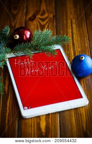 Congratulations on New Year's Decoration on the tablet