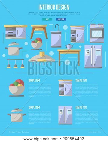Kitchen interior design poster. Modern apartment decoration and stylish furniture renovation. Cooking table, wash basin, gas stove, refrigerator, stool, lamp, air extractor vector illustration.