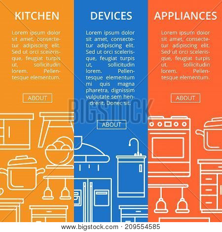 Kitchen devices and appliances linear flyers. Home interior design, modern apartment decoration. Cooking table, wash basin, gas stove, refrigerator, stool, lamp, air extractor vector illustration.