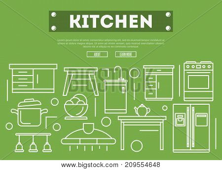 Kitchen furniture linear poster. Home interior design, modern apartment decoration, furniture renovation. Cooking table, wash basin, gas stove, refrigerator, stool, air extractor vector illustration.