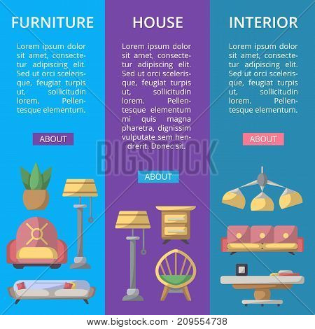 Modern house furniture poster set. Stylish and cozy living room space, home interior decoration banners. Bed, sofa, armchair, hanging lamp, bedside table, lcd tv, coffee table vector illustration