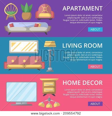 Modern apartment decoration poster set. Stylish and cozy living room space, home interior renovation. Bed, sofa, armchair, hanging lamp, bedside table, lcd tv, coffee table vector illustration